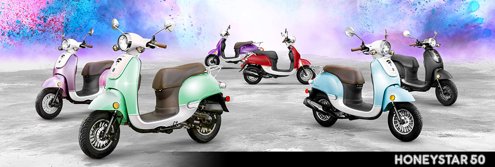 Honeystar 50cc Scooters in different colors